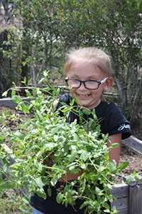 Shelby Prevatte of Girl Scout Troop #28 helps carry plants for the Combes Community Center garden.
