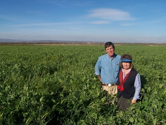 Fred and Judy Brossy in cover crop field.