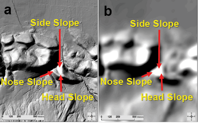 Figure 2-5. Images showing changes in slope class interpretation as affected by digital elevation model (DEM) resolution from LiDAR.
