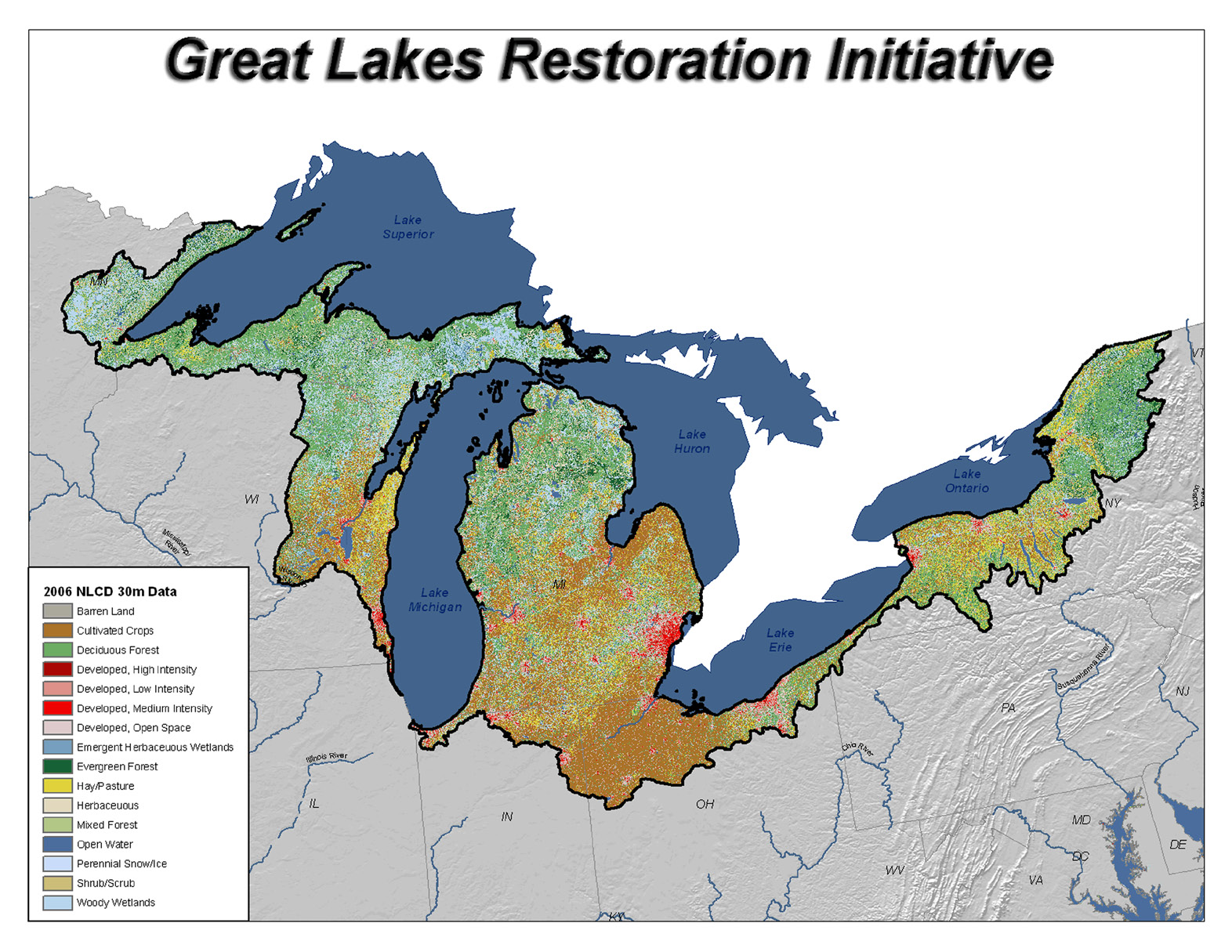 The Great Lakes Region has many land uses, from mixed forests to cultivated cropland.