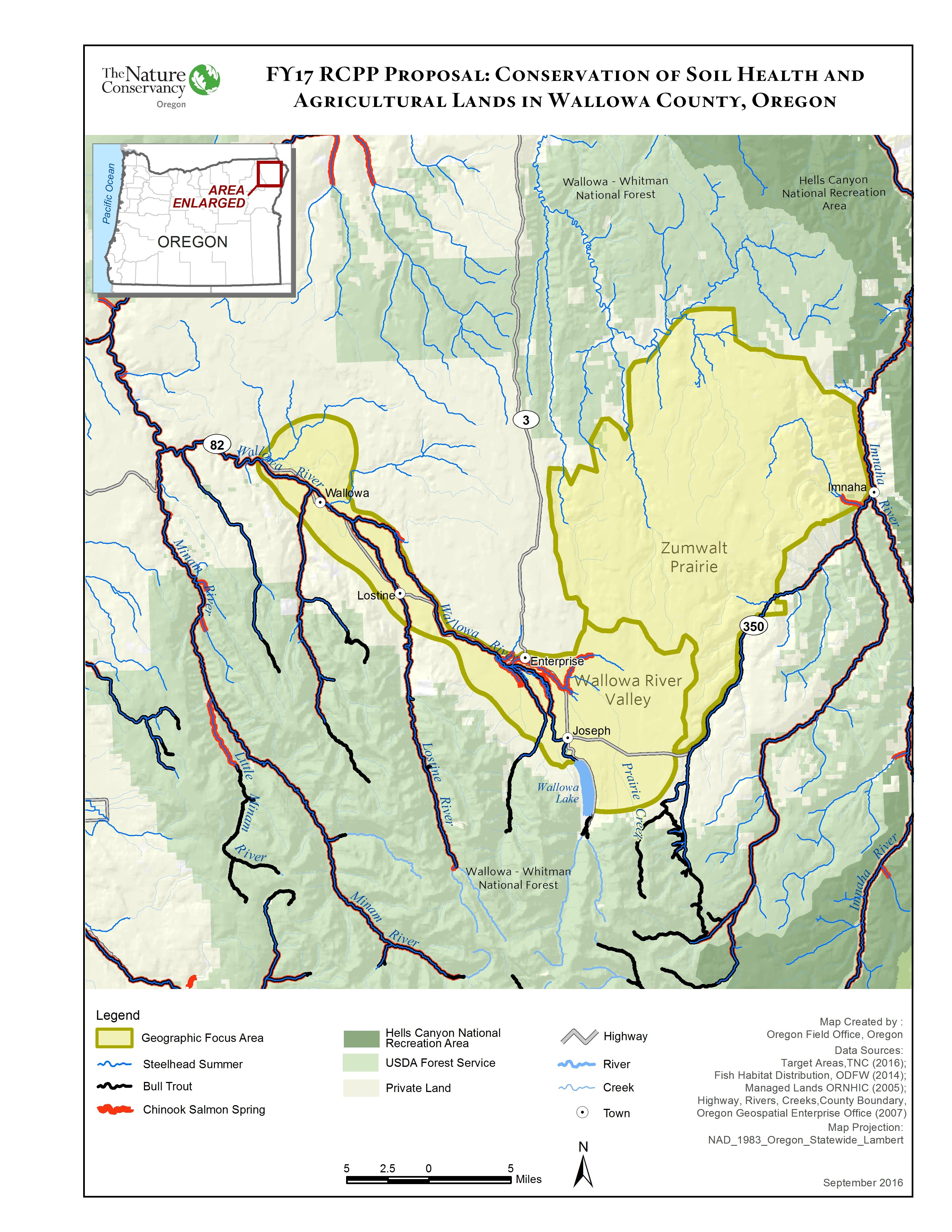 Map of Wallowa Soil Health RCPP project area