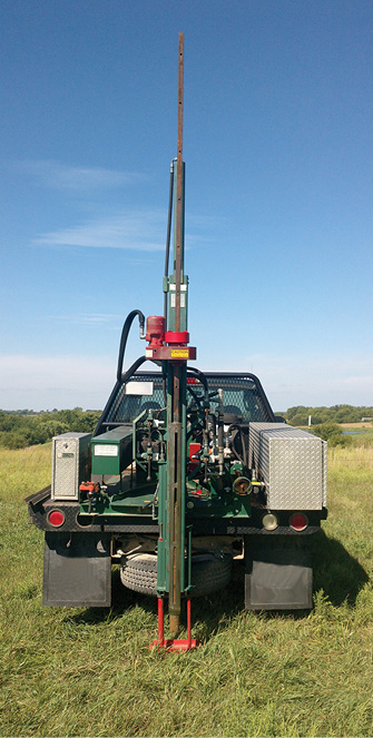 Figure 4-1. A truck-mounted hydraulic probe used to quickly obtain soil profiles. The Giddings probe (shown) has the ability to collect a large- or small-diameter core sample, and extensions can be added to it for deep coring.