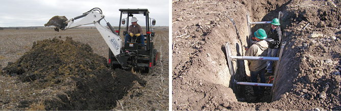 Figure 4-2. Left image—A backhoe excavation providing a large view of the soil profile and improving access for description and sampling. Right image—Shoring, exit ramps, and other safety measures must be used to protect staff in deep trenches. (Photos courtesy of Wayne Gabriel)