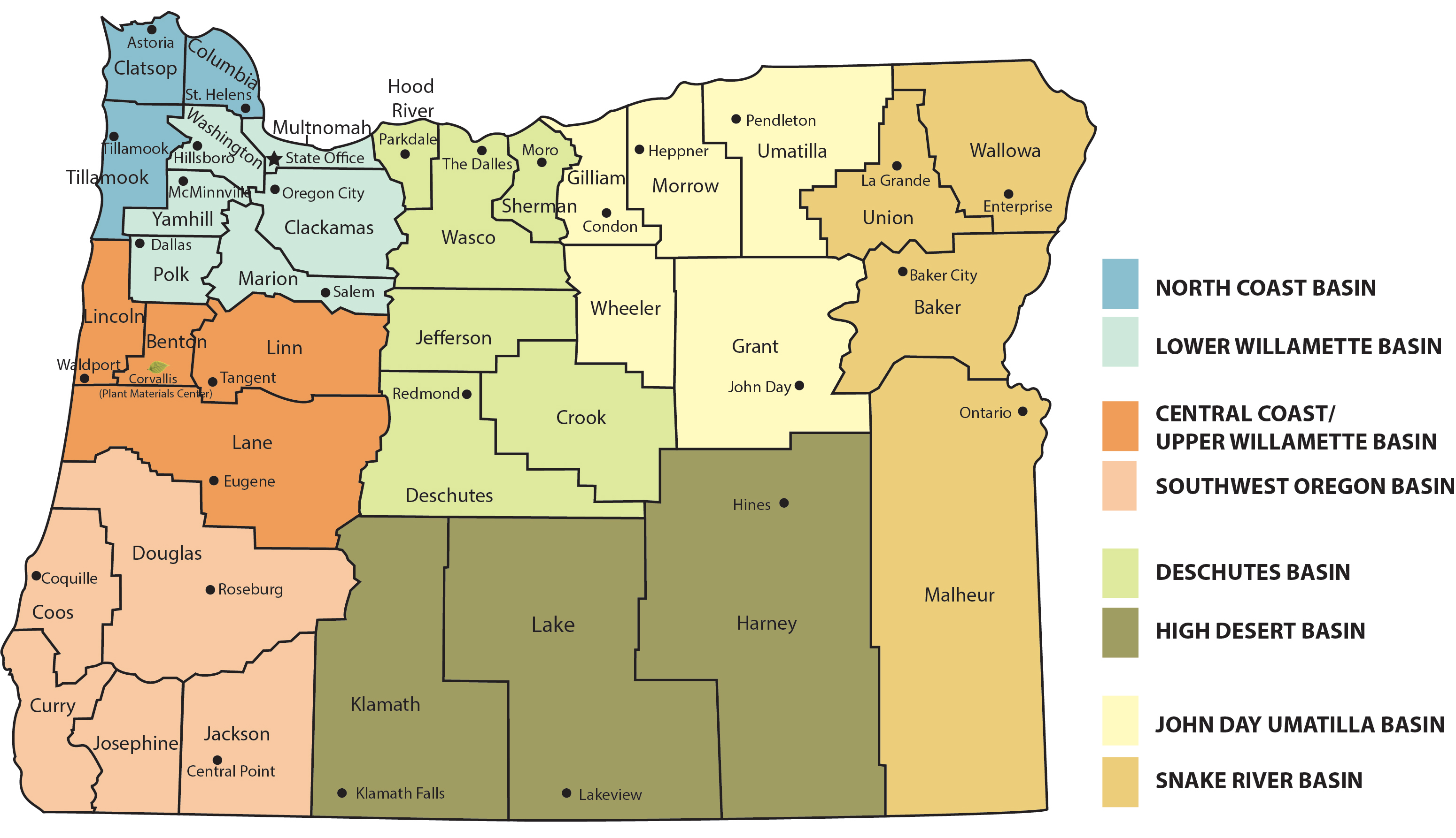 Directory By Basin And County Nrcs Oregon