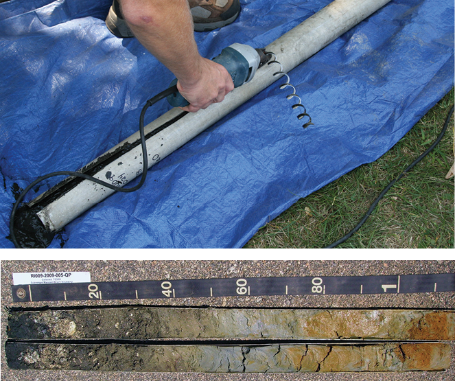 Figure 10-4. A core from subaqueous sampling. Top image—Cutting open the core with electric shears. Bottom image—A split core exposing the soil. One side is typically sampled, and the other may be stored and archived.