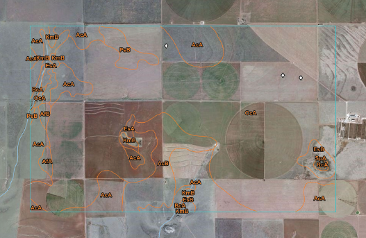 Figure A-2. Soil map showing an area of interest on the Southern High Plains of western Texas and eastern New Mexico. The area is part of Major Land Resource Area 77C in Land Resource Area H. Note the distribution of map unit OcA (Olton clay loam, 0 to 1 percent slopes).
