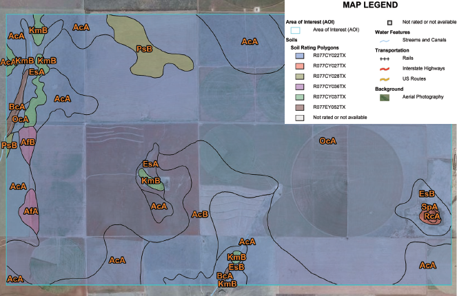 "Figure A-6. Map showing ecological sites. The dominant ecological site is Deep Hardland, 16-21"" PZ (R077CY022TX)."