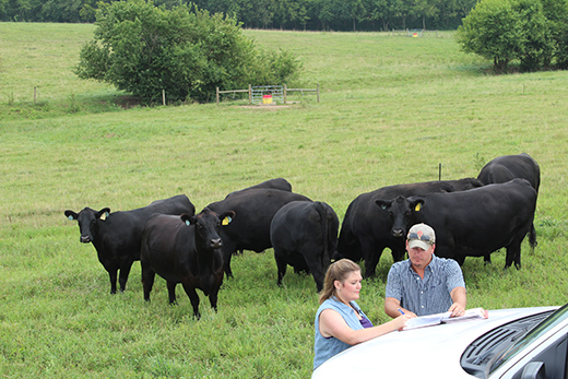 Mercer County, KY., cattle farmer Elizabeth Chunglo reviews her EQIP contract with NRCS Harrodsburg Field Office Planner Brandon Marshall during a recent visit to her farm.