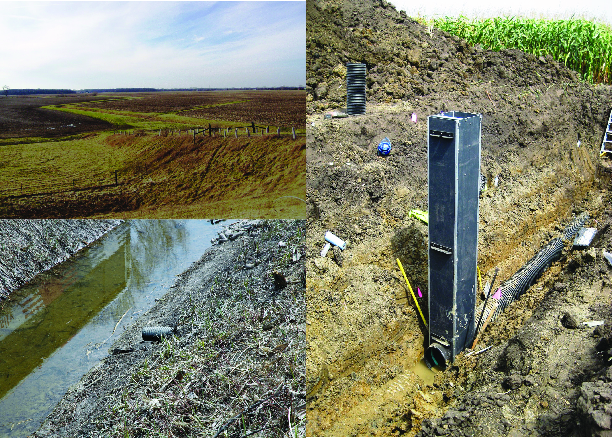 Top left - drainage landscape. Lower left Subsurface drain. Right Drainage water control structure
