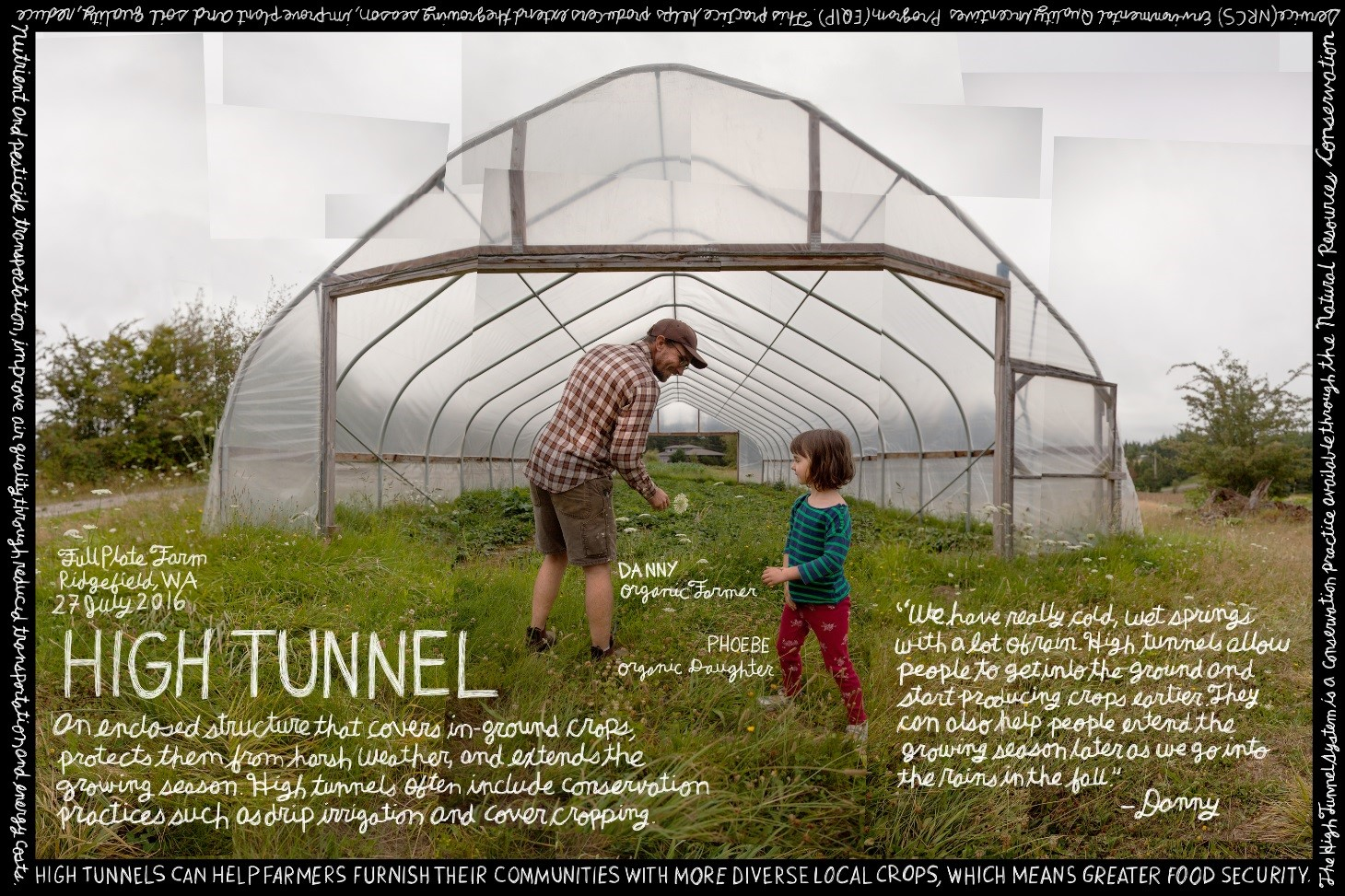 High Tunnell image with man and little girl