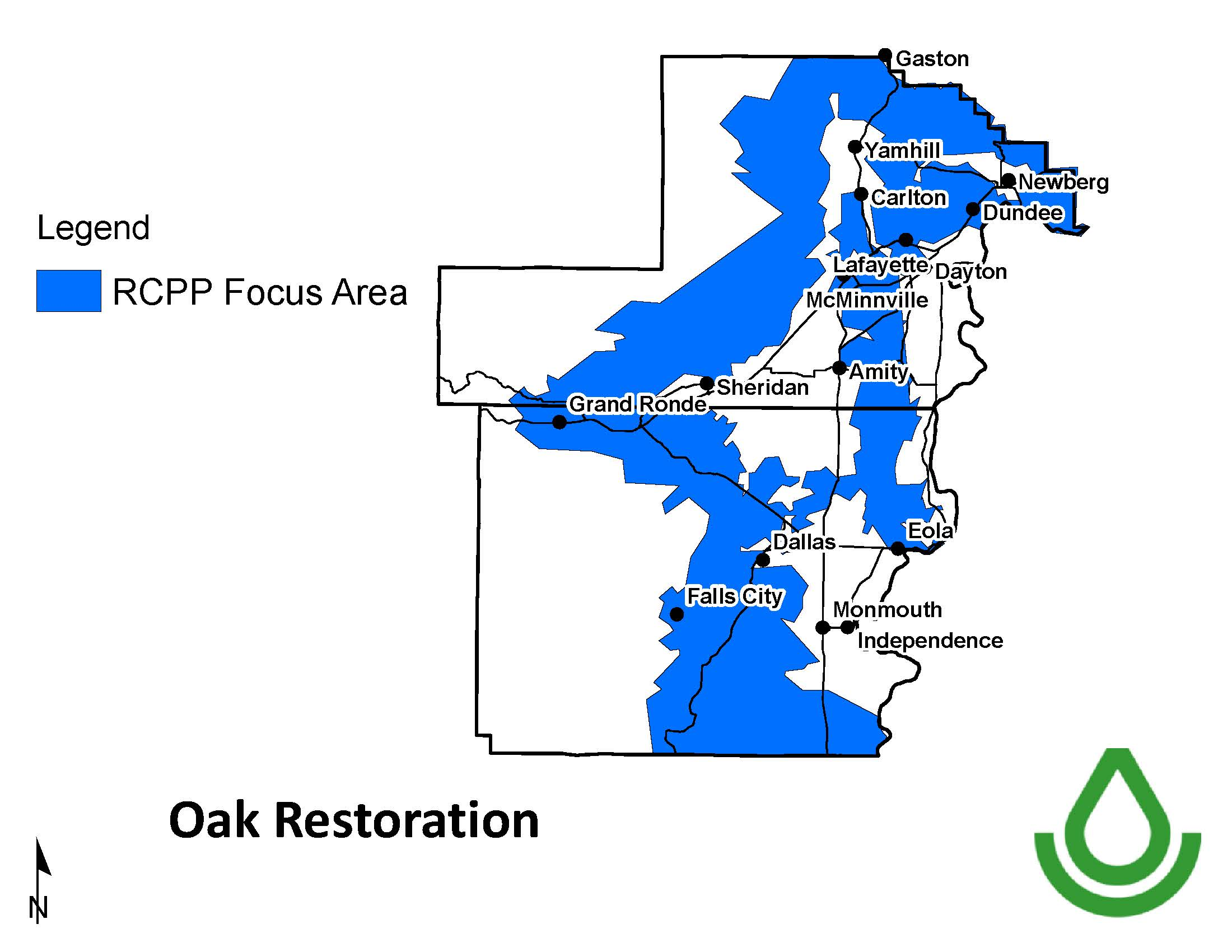 Map - North Willamette Oak RCPP in Yamhill and Polk counties