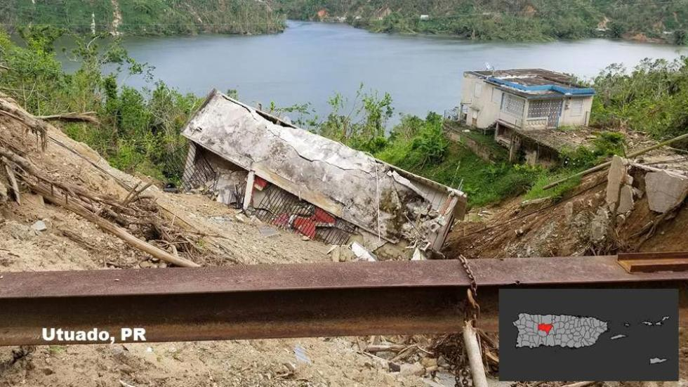 A structure destroyed by a landslide near Utuado, PR. The town is located in one of the areas where Maria caused the highest concentration of landslides.