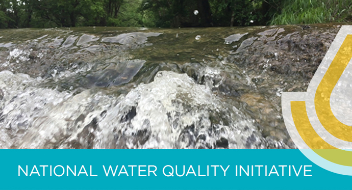 NWQI landing page banner graphic; photo of stream water rushing toward camera