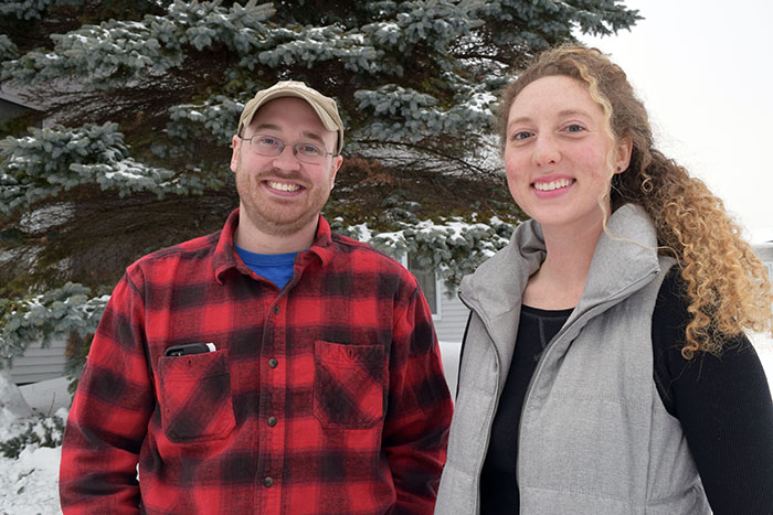 Saint John Valley Soil & Water Conservation District employee Alexander Zetterman (left) and NRCS-Maine Soil Conservationist Kelsey Ramerth, Jan. 19, 2018, in Fort Kent, Maine. Photo by Thomas Kielbasa