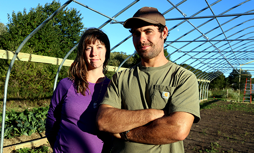 Jennifer Christian and Matt Churchill, owners of Pariah Dog Farm in Falmouth, Mass.