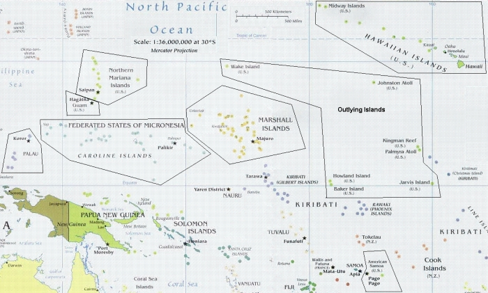 Map of Pacific Islands Area