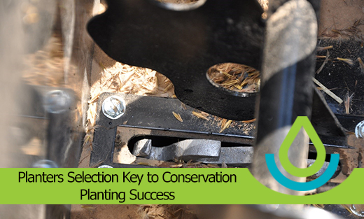 Image banner with title Planters Selection Key to Conservation Planting Success with close-up of the inside of a native seed box.