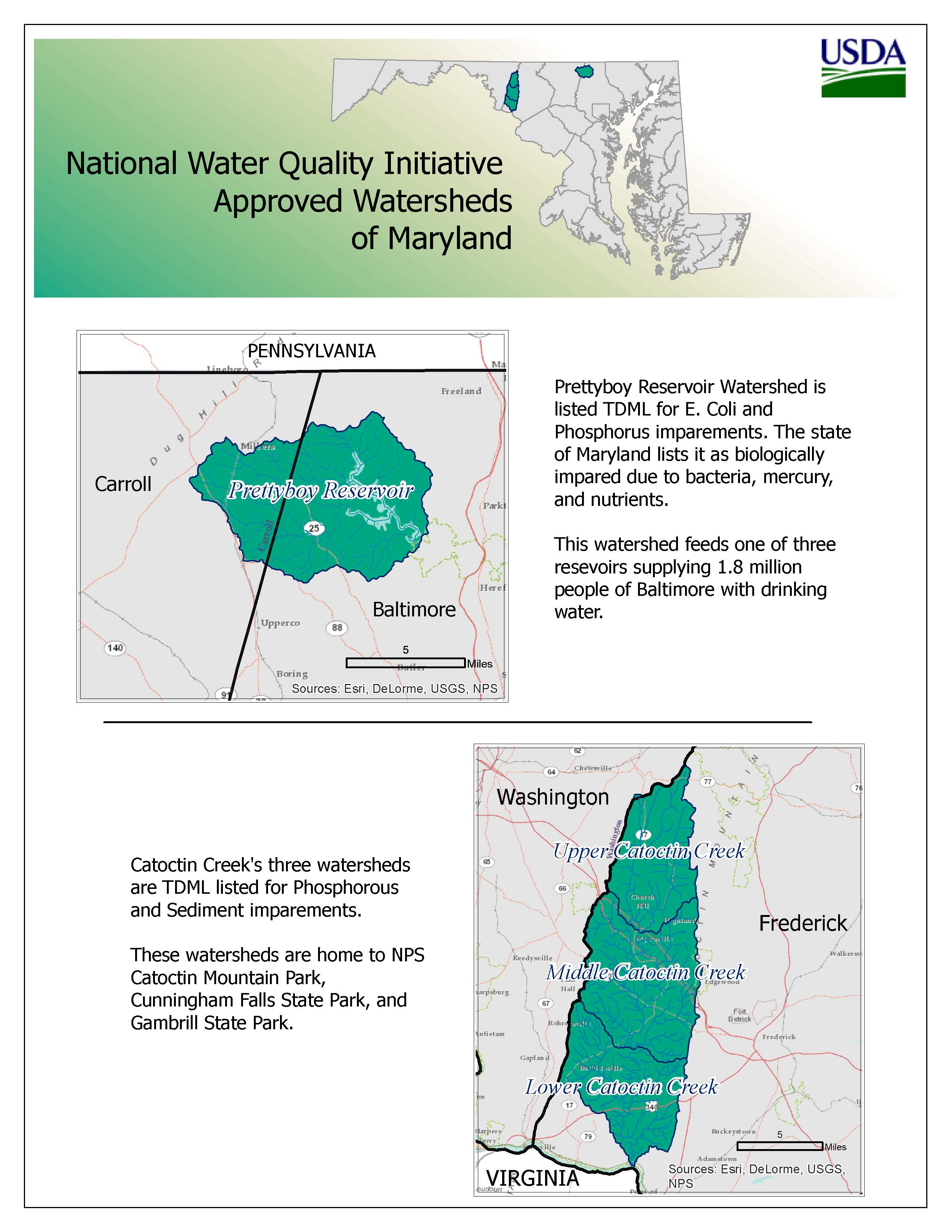Map of selected watersheds in the National Water Quality Initiative