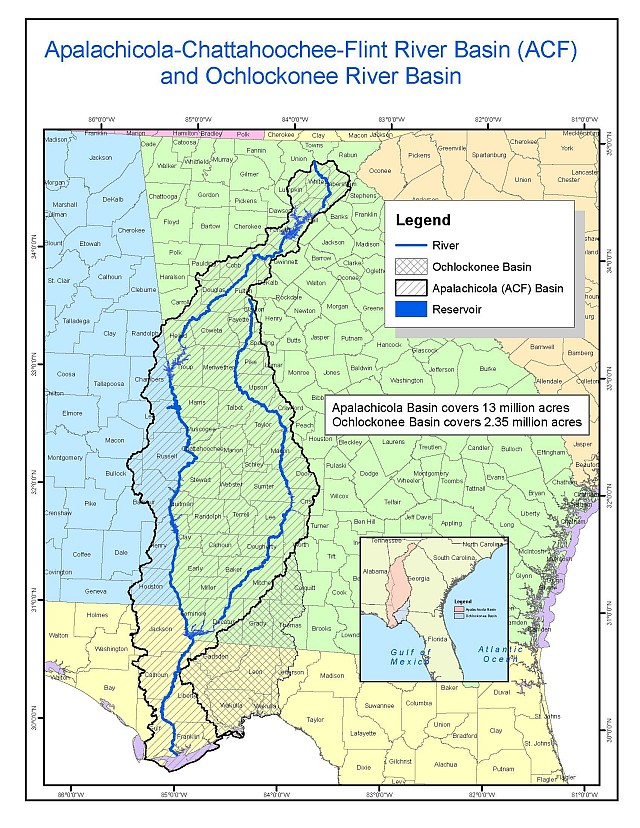 Map of the multi-state project's river basins.