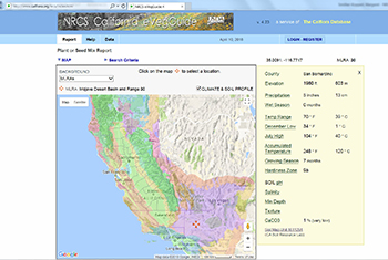 Click image to enlarge eVeg Guide Splash page with map of California to left and list of environmental parameters and soil links on the right.