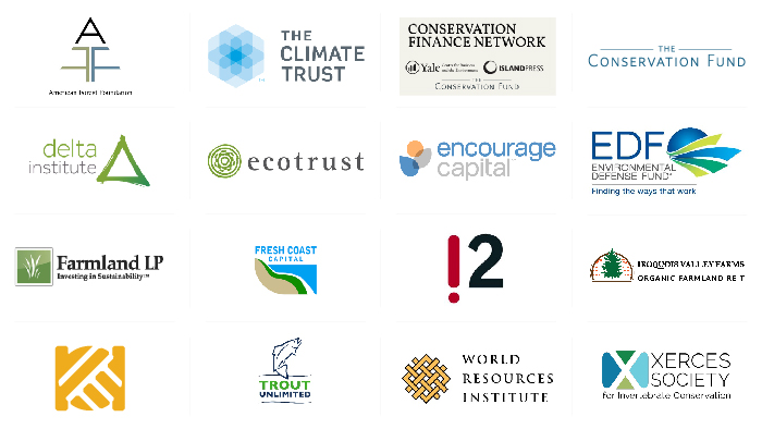Logos of Environmental Markets and Conservation Finance partner organizations
