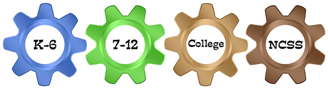 Graphic of gears with links to K-6, 7-12, College, and NCSS.