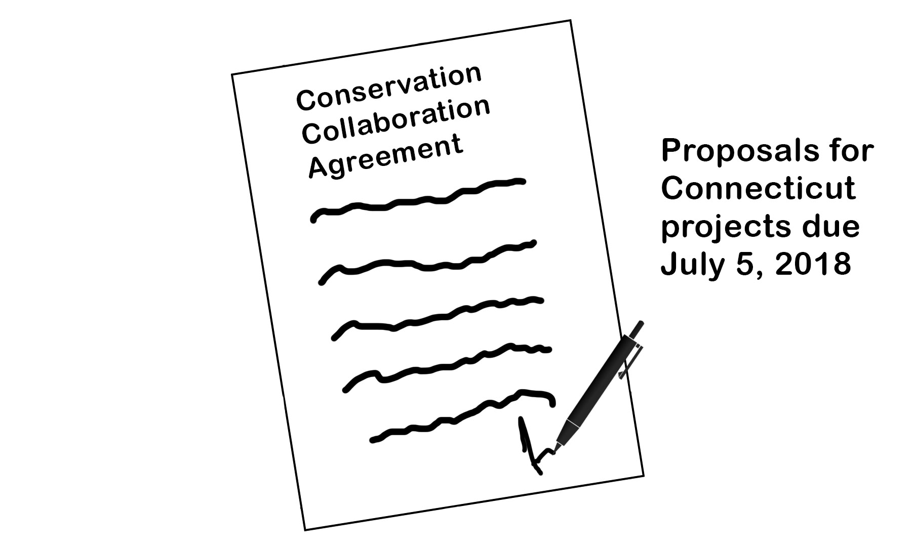 Clipart - paper with pen signing Conservation Collaboration Agreement