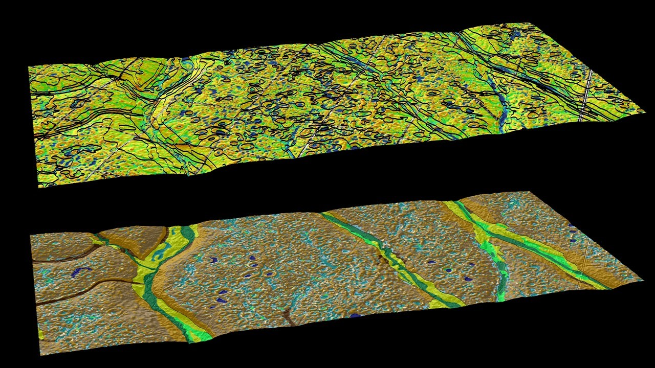 SSURGO lines draped over Multipath Topographic Wetness Index (top) derived from LIDAR bare-earth terrain models; Raster Soil Survey and gSSURGO data (bottom) defining variability in Ecological Sites across the landscape following an update in the Northern Black Glaciated Plains of North Dakota.