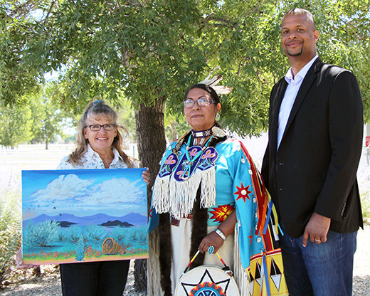 (From l to r) Patti Novak-Echenique, NRCS Nevada American Indian/Alaska Native Special Emphasis Program Manager and Nevada State Rangeland Management Specialist; Francine Tohannie, winning artist; and Ray Dotson, Nevada NRCS State Conservationist display the winning artwork.