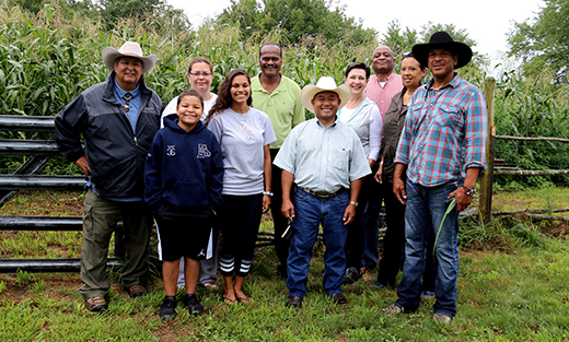 NRCS leaders joined four generations of the Spears family for a tour of Crandall Minacommuck Farm, the Narragansett tribal farm.