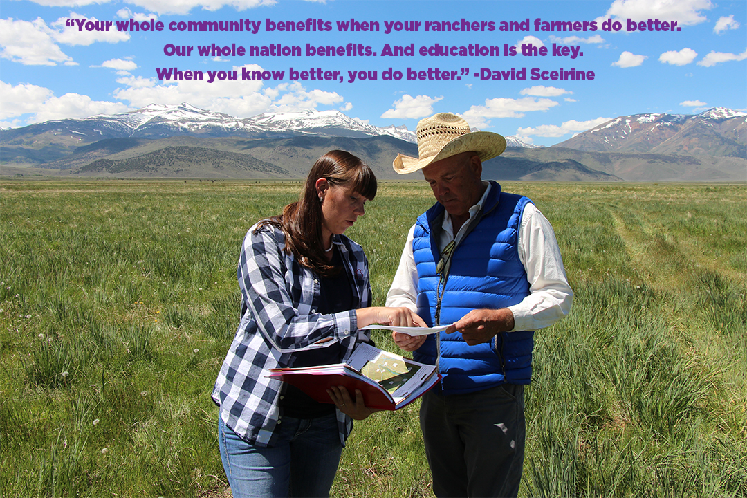 Jessica Gwerder, NRCS Nevada soil conservationist (l) talks with David Sceirine about his conservation plan.