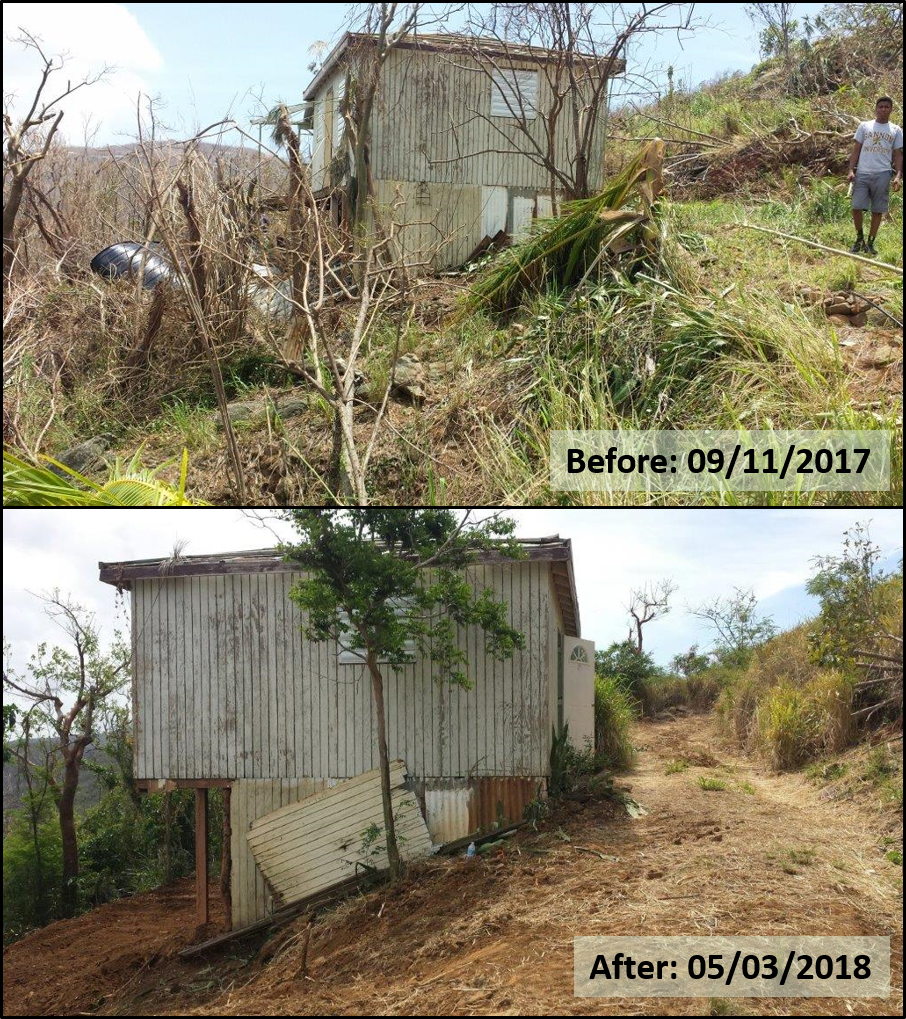 St. Thomas farmer, Gerald Hodge's farm post hurricane Irma - Sept 11, 2017 and after completion of EQIP debris removal contract - May 3, 2018.