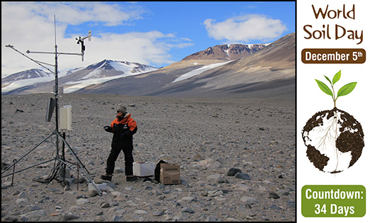 Cathy Seybold working at Bull Pass Soil Climate Research Station (Antarctica).