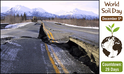 Photo of road damage from an earthquake.