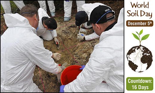 Participants examine a simulated hidden 'grave site' during a clandestine grave and human remains recovery training. Photo by Airman 1st Class Allison Payne.