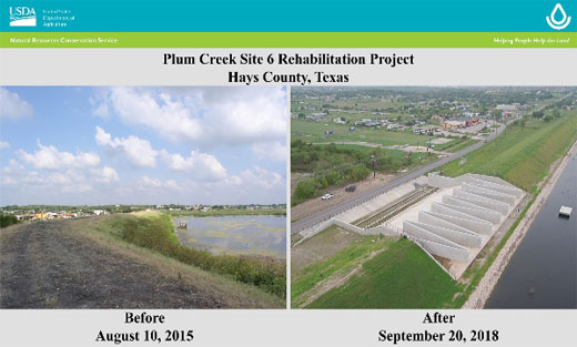 Plum Creek Watershed Site 6 will extend the service life and benefits of the flood control dam.
