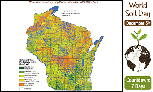 Map of Wisconsin Commodity Crop Productivity Index for corn.