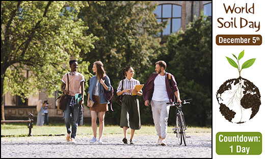 Students walking on a college campus.