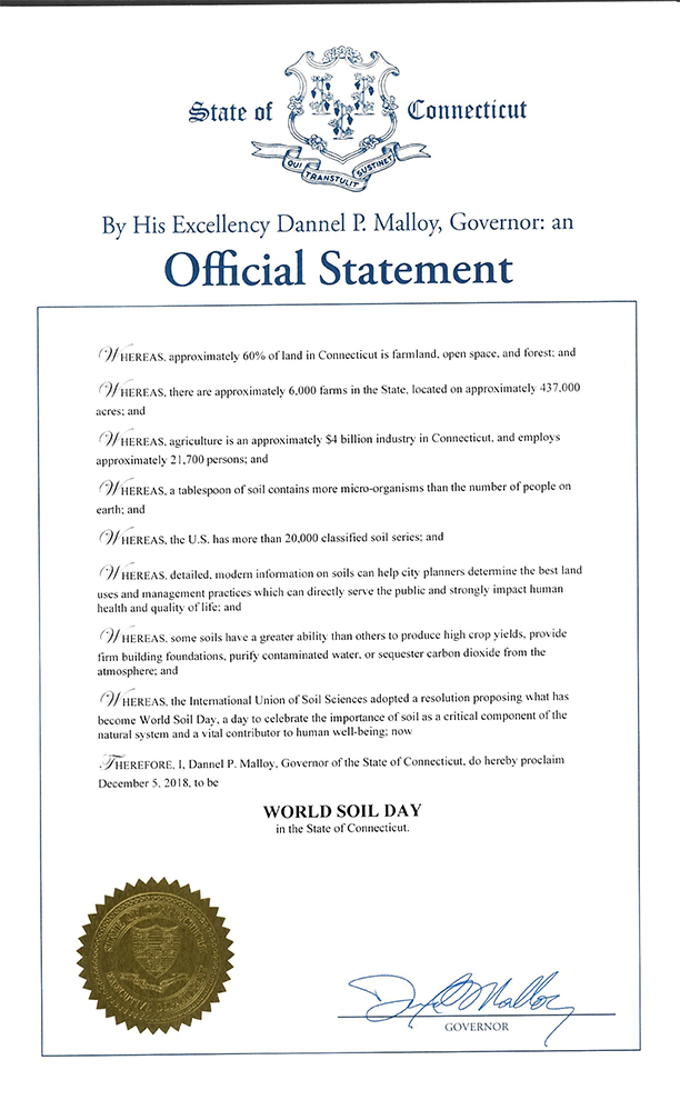 World Soil Day Proclamation signed by Connecticut Governor Dannel Malloy