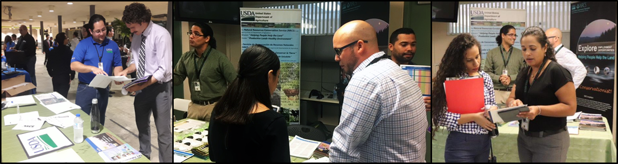 Left to right: Engineer Rolando Collazo provides information on NRCS to Engineering student; José Victor Jiménez, Frank Velázquez and Lester Cotto interact with UPRM Job Fair attendees; Silmarie Padrón (right) provides information on the Pathways program to UPRM student.