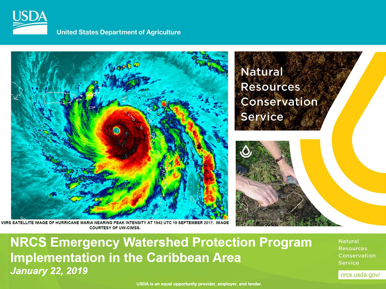 NRCS Emergency Watershed Protection Program Implementation in the Caribbean Area Webinar - satellite image of hurricane María at peak intensity 19 September 2017