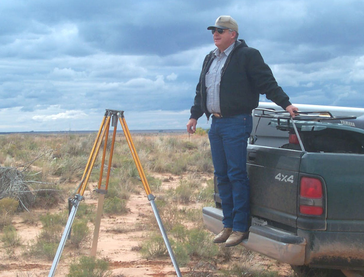 Photo of Michael Standefer, South Area Civil Engineer Technician, out in the field in Portales, NM