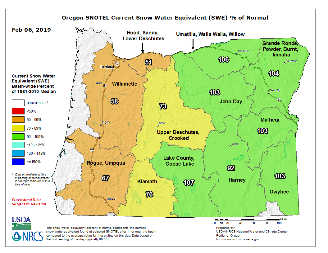 Map of Oregon snow water equivalent by basin.