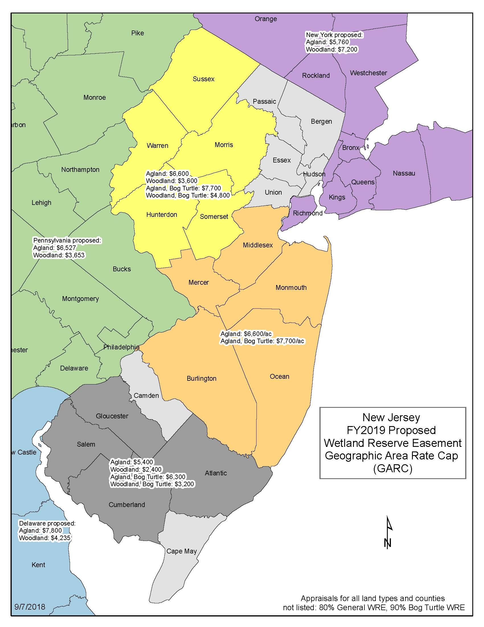 Map of the Geographic Area Rate Caps in NJ for FY 2019