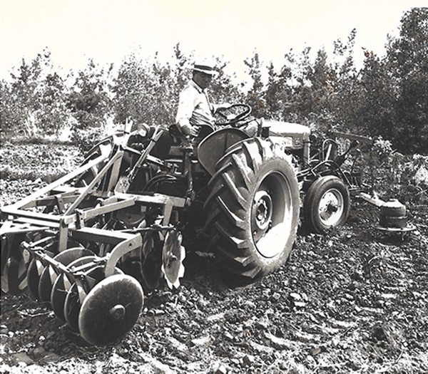 Image of a man sitting in an In-the-row tree cultivator on a farm near Carrington.
