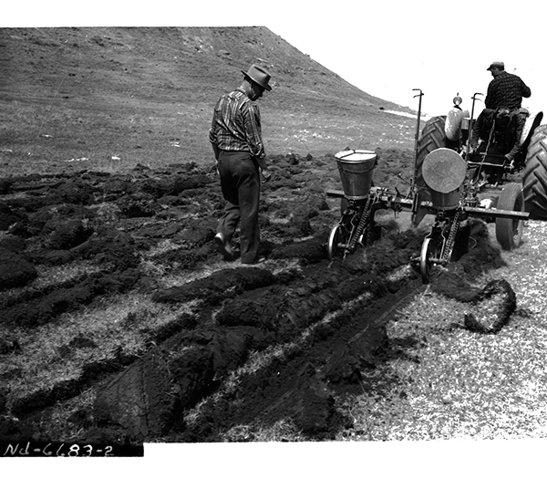 Image of two men with a tractor and interseeder implement on low condition range near Zap, ND on May 11, 1960