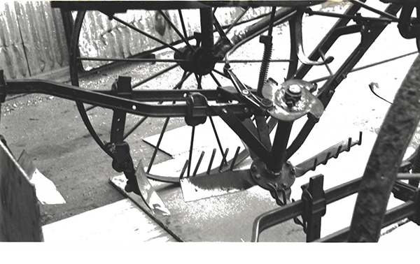 Image of a In-the-row tree cultivator built at Park River, ND in the winter on 1937-38.