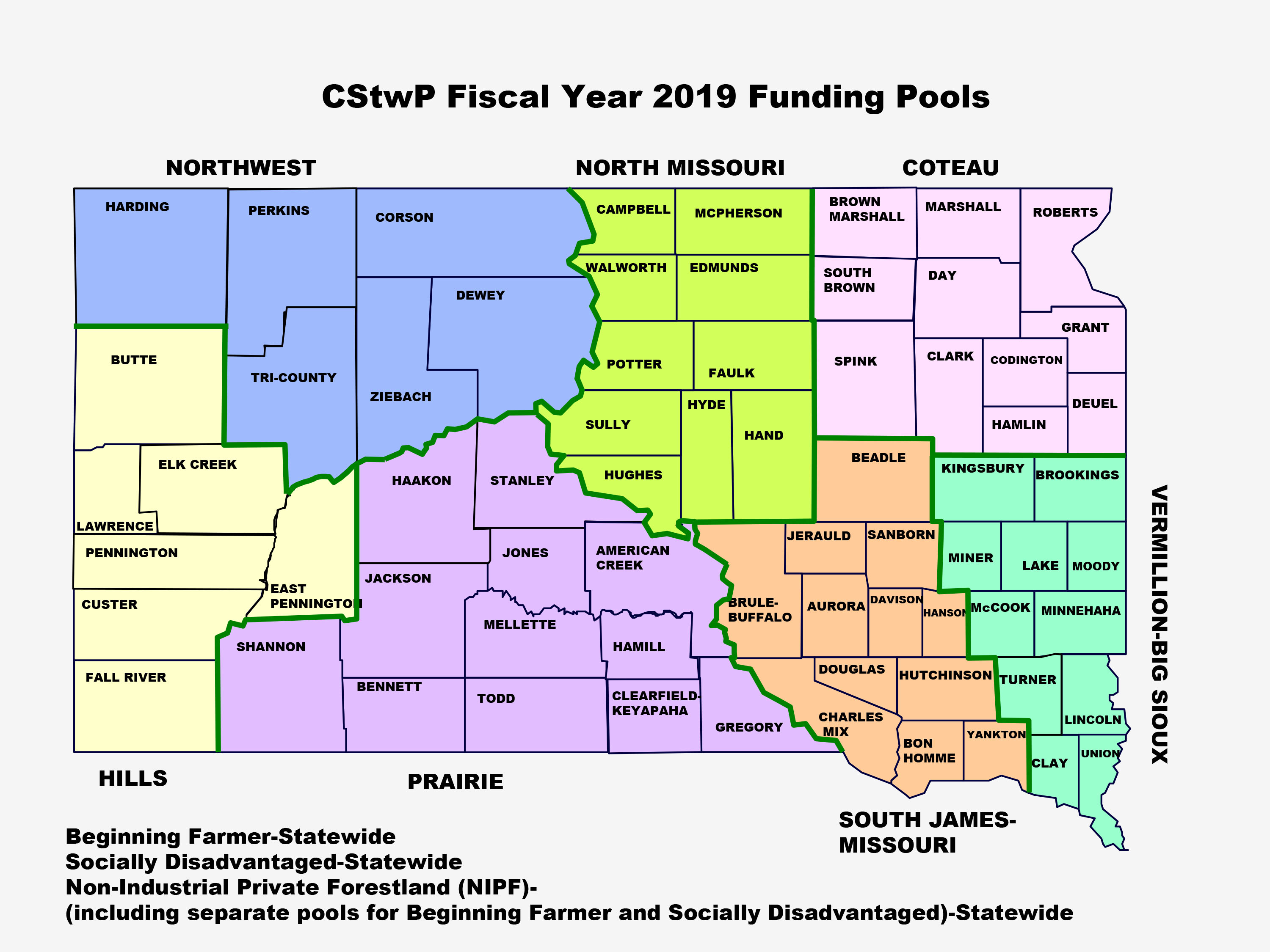 Map of South Dakota with funding pools located