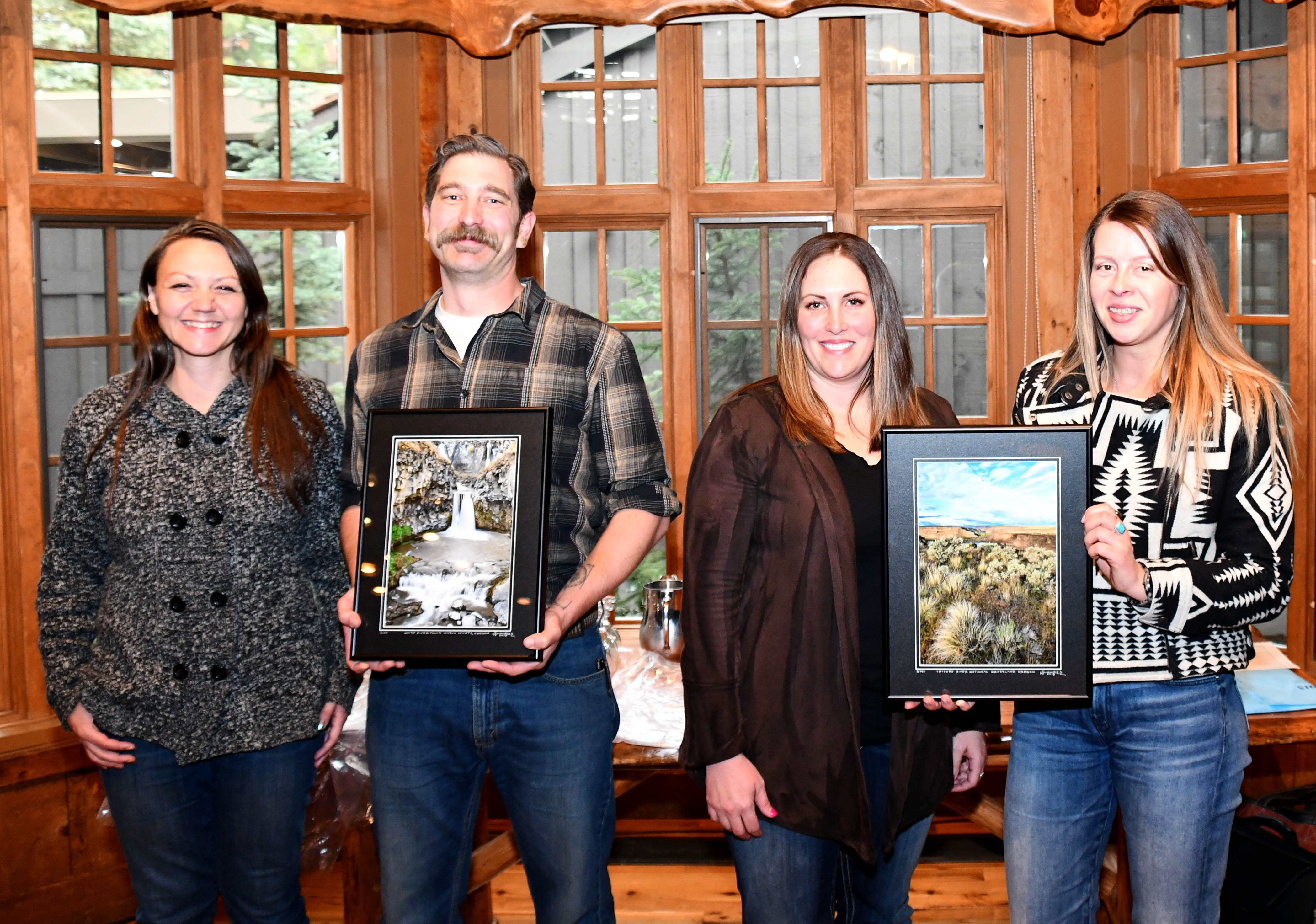 Pictured Left to Right: Shilah Olson, District Manager for the Wasco Soil and Water Conservation District (SWCD); Dan Esposito, District Conservationist for Wasco County with the USDA Natural Resources Conservation Service (NRCS); Amanda Whitman, District Manager for the Sherman SWCD; and DelRae Fer
