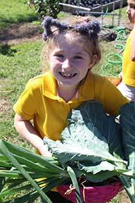 Children helping in a community garden